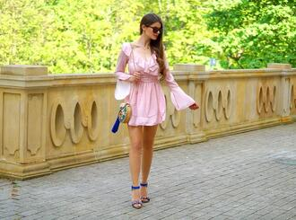 only my fashion style blogger dress shoes bag sandals pink dress spring outfits