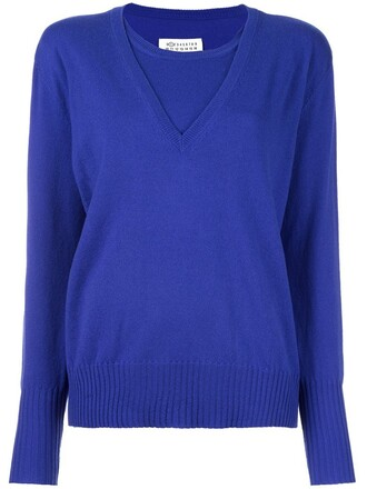 sweater pullover layered blue