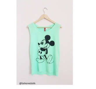 tank top disney mint mickey mouse