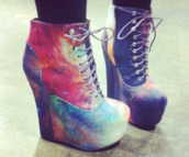 shoes,galaxy print,high heels,skirt,wedges,platform shoes,galaxy heels,nebula,laces,wedge heels,colorful,cute high heels,boots,cool heels,heels,booties,lace up,galaxy shoes,foot,jeffrey campbell platforms,cool,platform high heels,style,t-shirt,pumps