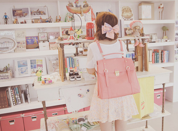 bag kawaii backpack pink bag coral bag pink backpack coral backpack
