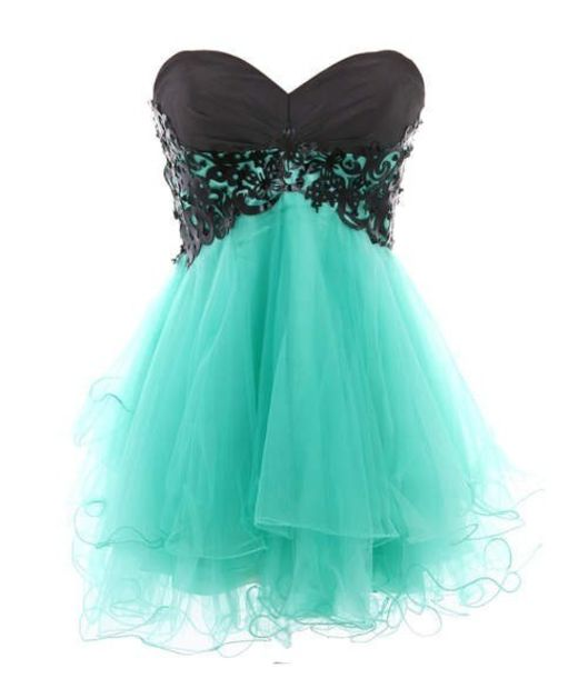 Dress: turquoise- tulle dress- puffy- short prom dress- homecoming ...