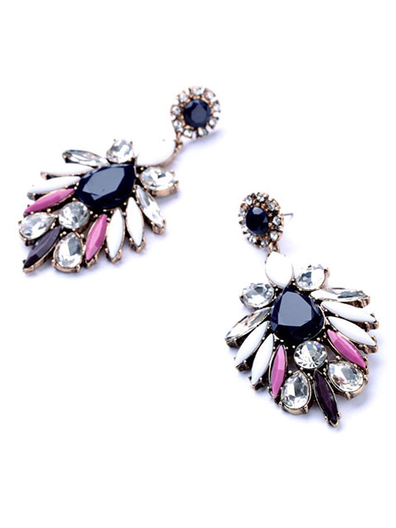 Choies Flower Drop Earrings With Rhinestone - Choies.com