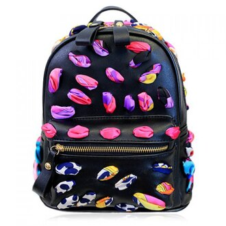 bag black colorful college high school school bag back to school school outfit leather faux leather dope swag high heels hippie pink