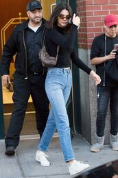jeans,black poloneck,polo neck,white sneakers,kendall jenner,mom jeans,girlfriend jeans,kendall and kylie jenner,love kendall jenner