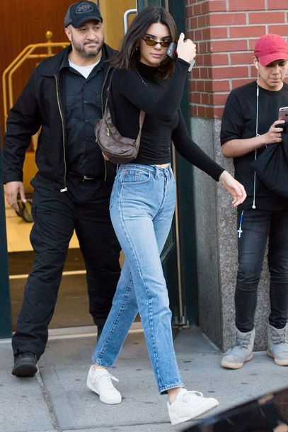 9b3fe608882 jeans black poloneck polo neck white sneakers kendall jenner mom jeans  girlfriend jeans kendall and kylie