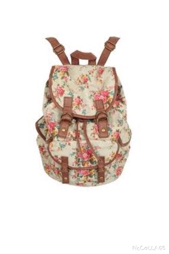 bag flowers vintage bagback school bag hipster swag vintage bag white