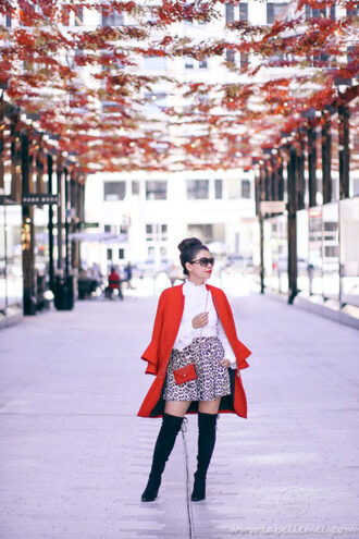 labellemel blogger coat top skirt shoes bag sunglasses fall outfits red coat over the knee boots red bag mini skirt
