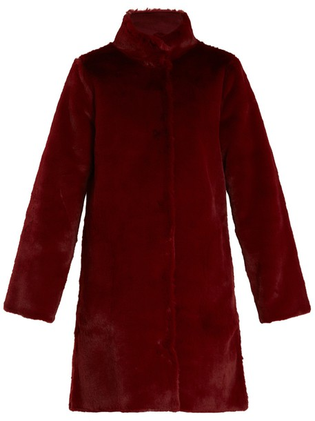VELVET BY GRAHAM & SPENCER coat fur coat fur burgundy