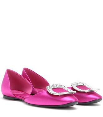 embellished satin pink shoes