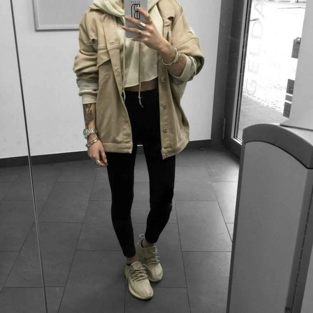 Jacket sweater tan nude khaki pretty tank top shoes beige yeezy hoodie streetwear ...