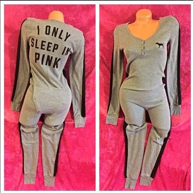 Victoria Secret Pink One Piece Thermal Long Janes Pajamas
