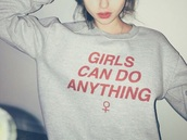 sweater,girls can do anything,grey,pink,t-shirt