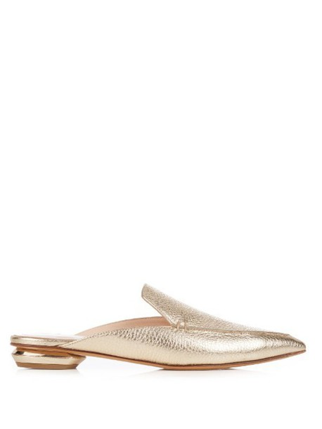 c94e5b50f6f9 NICHOLAS KIRKWOOD Beya grained-leather backless loafers in gold ...