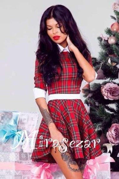 white collar flannel plaid dress red plaid red dress