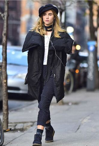 pants polka dots suki waterhouse fall outfits hat jacket polka dots capri pants polka dot pants white top scarf coat black coat boots navy boots