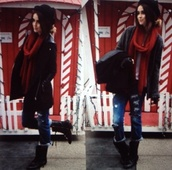 coat,acacia brinley,black,leather,jeans,scarf,red