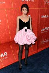 dress,sarah hyland,celebrity,mini dress,red carpet dress,prom dress