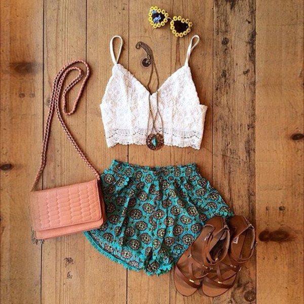 shorts blue shorts print summer beach coachella flowers lovely shirt bag sunglasses shoes blouse white tank top floral jewels trib shorts high waisted leather black High waisted shorts denim high waisted black bikini tribal shorts lace