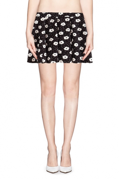 Cute polka dot and floral print zip side pleated skirt