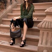 pants,tumblr,leather culottes,culottes,black pants,leather pants,sandals,sandal heels,high heel sandals,bag,black bag,shirt,green shirt