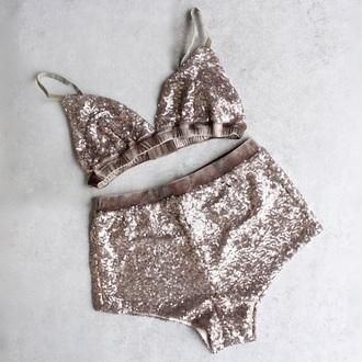 underwear two-piece glitter swimwear two piece shiny rave bra