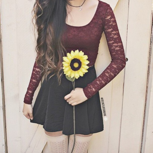 bag redish laced tank top skater girl skirt skirt t-shirt top red lace shirt dark style dark red long sleeves black skirt lace top whine red sunflower blouse
