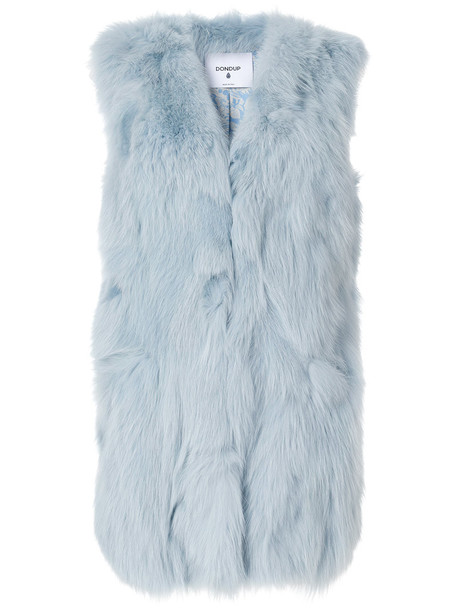 DONDUP vest long fur fox women blue jacket