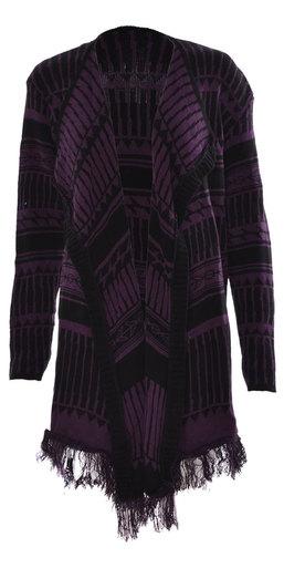 Women aztec print kintted full sleeve waterfall cardigan in purple