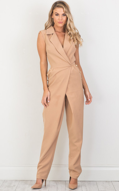 SHOWPO Early Bird Jumpsuit in camel