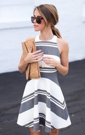 dress,striped dress,grey dress,white dress,pinterest,summer dress,sunglasses,blonde hair,tank top,classy,preppy,stripes,high neck,pretty,casual,day,summer,spring,spring dress,spring outfits,summer outfits,summer outfis,grey,white,clothes