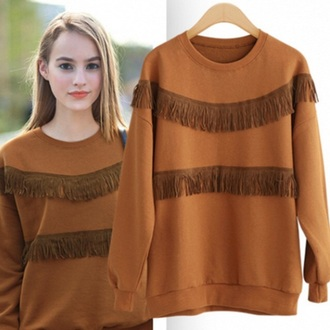 sweater brown fall outfits fringes fashion style trendy long sleeves musheng