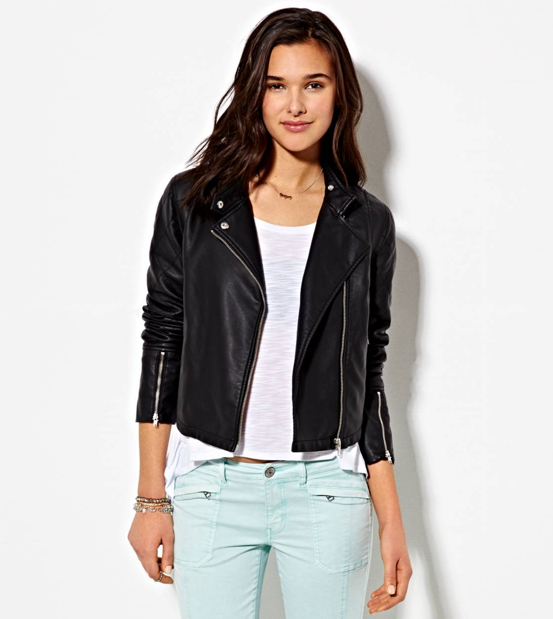 8e870c2bb AE Cropped Vegan Leather Moto Jacket, Black | American Eagle Outfitters
