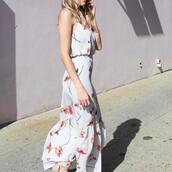 dress,tumblr,white dress,maxi dress,long dress,floral maxi dress,floral,floral dress,sleeveless,sleeveless dress,spring outfits,spring dress,spring date night outfit