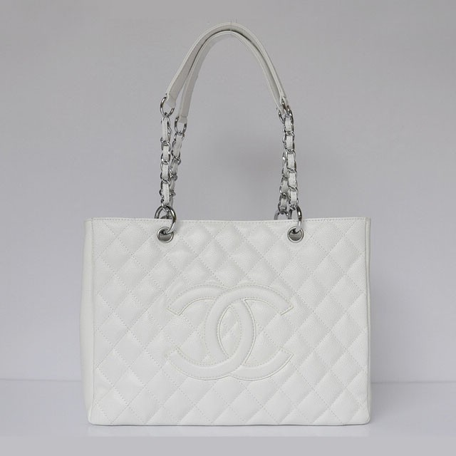 Cc chanel classic bag shopper tote handbags caviar leather 20995 white silver chain limited edition durable