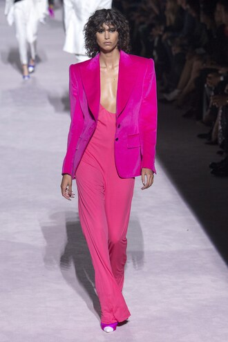 jumpsuit mica arganaraz blazer pants model runway pink fashion week nyfw 2017 ny fashion week 2017