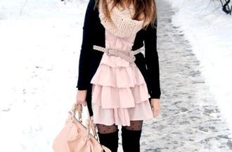 dress pink dress cardigan black cardigan