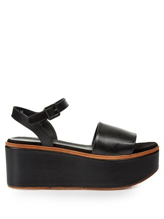 sandals flatform sandals leather black shoes
