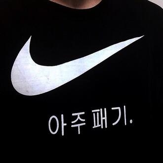 sweater nike black jumper tic symbols indie japanese korean fashion chinese coat top sunglasses swimwear socks tights black sweater black sweatshirt nike sweater shirt black and white asian black swimwear