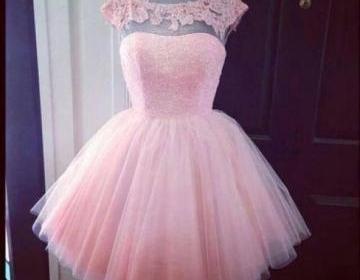 Custom made a line short pink prom ..