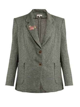 jacket oversized wool green