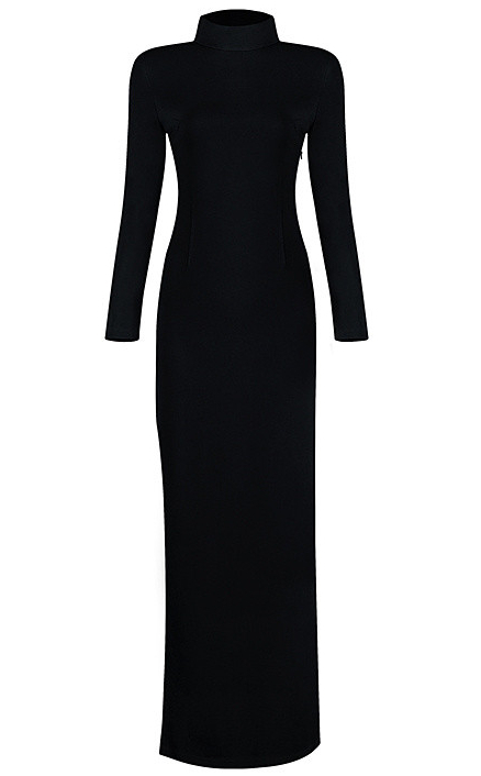 Long Sleeve High Neck Strappy Evening Dress Black