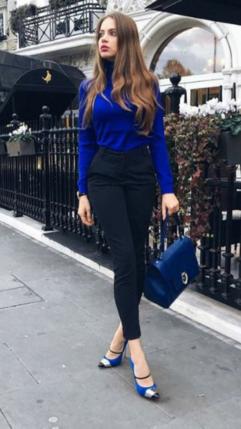 7dd79681d5 blouse feminine blue winter outfits fall outfits black pants blue blouse  russian model chic swiss russian