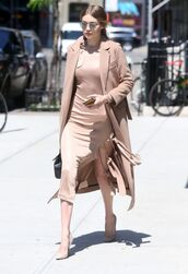 dress,camel,camel coat,gigi hadid,pumps,spring outfits,sunglasses,coat,nude coat,beige coat,pink dress,blush pink,slit dress,nude heels,model