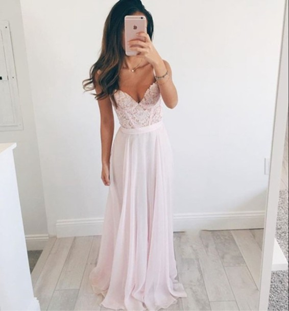 dress, simibridaldress, chiffon, prom dress, long dress, pink, pink ...