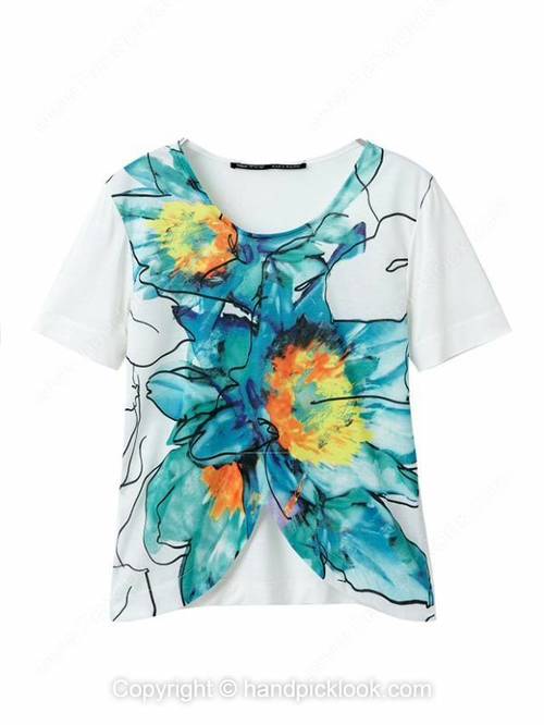 White Short Sleeve Flowers Print Asymmetrical T-Shirt - HandpickLook.com
