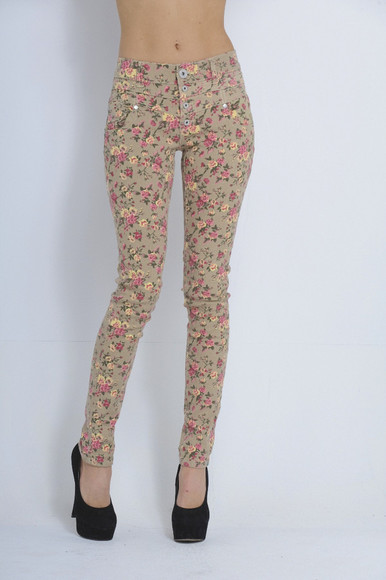 pants printed pants floral high waisted pants