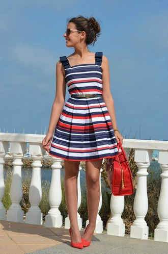 dress blue white red outfit striped dress summer dress summer outfits bag red bag high heel pumps pumps red pumps sunglasses
