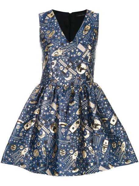 dress metal women jacquard blue