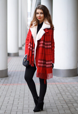 a piece of anna blogger red red coat shearling jacket winter outfits flannel scarf